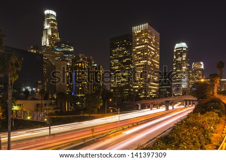Downtown of Los Angeles at night - stock photo
