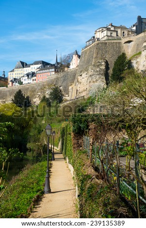 Downtown of Luxembourg City, view with Alzette river - stock photo