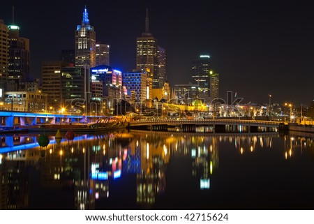 Downtown of Melbourne at night - stock photo