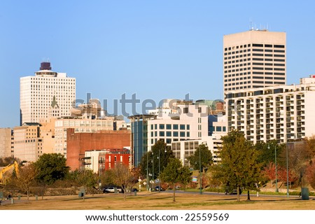 Downtown of Memphis, TN from Tom Lee park - stock photo
