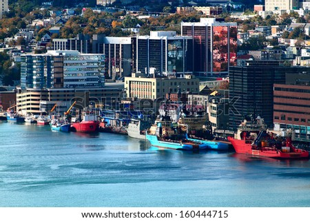 Downtown of Newfoundland and Labrador Capital - St. John's and part of the Harbor.  - stock photo