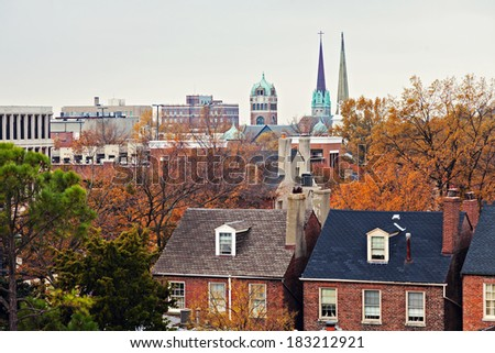 Downtown of Portsmouth, Virginia. Seen from the top of building. - stock photo