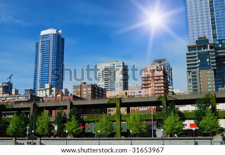 Downtown of Seattle and waterfront  in sunny nice summer day. - stock photo