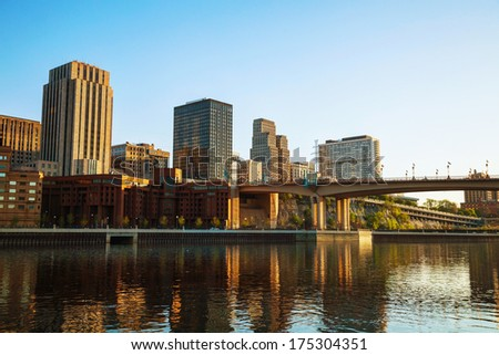Downtown of St. Paul, MN and Mississippi river - stock photo