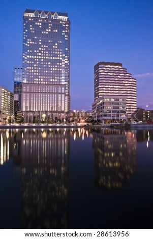 Downtown of Tampa by Night - stock photo