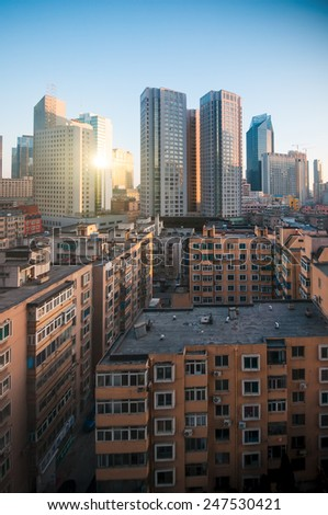 Downtown of the Dalian, China. - stock photo