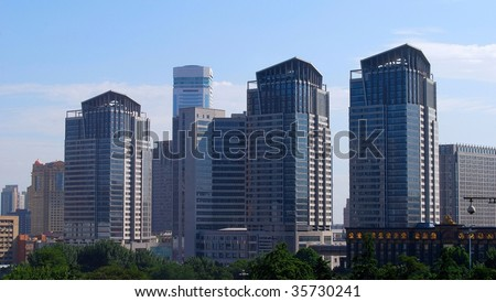 Downtown of the Dalian, China. Group of buildings. - stock photo