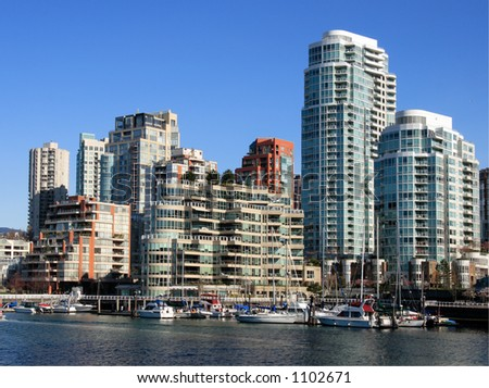 Downtown of Vancouver. View from Granville Island - stock photo
