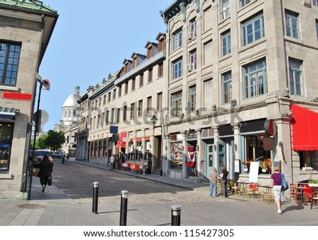 Downtown Old Montreal Streets in Quebec, Canada - stock photo
