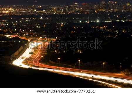 Downtown Phoenix Arizona at night with - stock photo