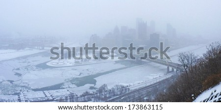 Downtown Pittsburgh During Winter Storm of January 2014 - stock photo