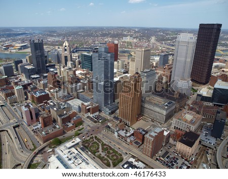 Downtown Pittsburgh Pennsylvania aerial on bright sunny day. - stock photo