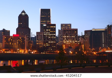 Downtown Portland at dusk. - stock photo