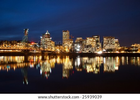 Downtown Portland Oregon cityscape at night.