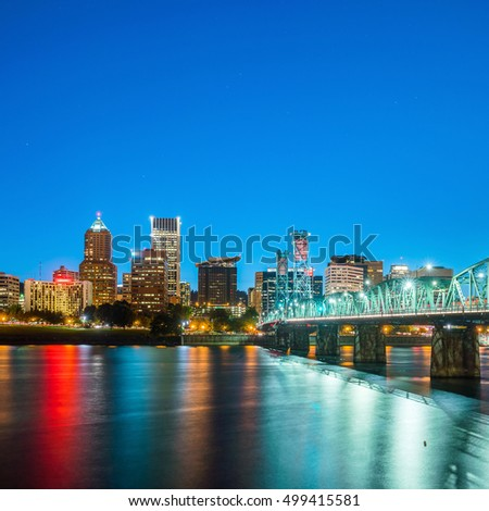 Downtown Portland Oregon skyline at night in USA