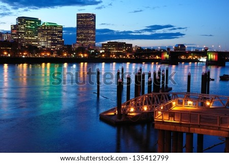 Downtown Portland & Willamette River - stock photo