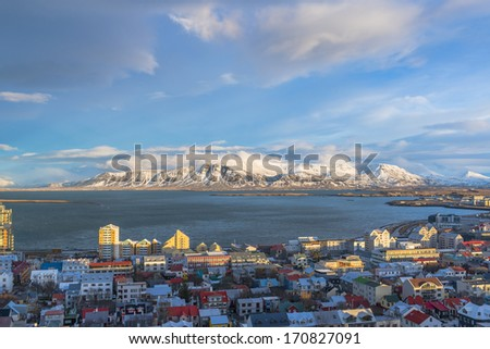 Downtown Reykjavik, Iceland, view from top of Hallgrimskirkja cathedral - stock photo