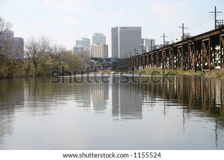 Downtown Richmond from the Canal - stock photo