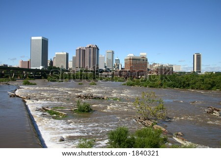 Downtown Richmond - View from the Flood Wall - James River Near Flood Level 2 - stock photo
