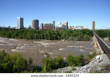 Downtown Richmond - View from the Flood Wall - James River Near Flood Level 5