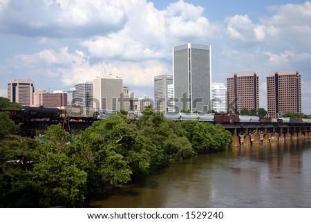 Downtown Richmond Virginia - Train on the Bridge - stock photo