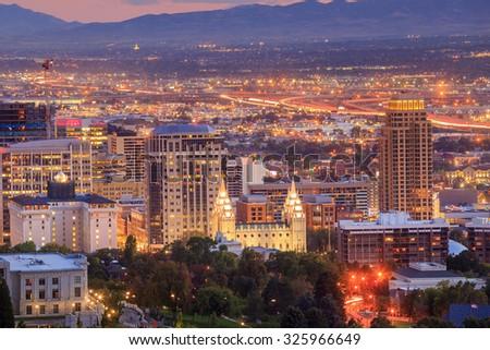Downtown Salt Lake City skyline Utah at night USA - stock photo