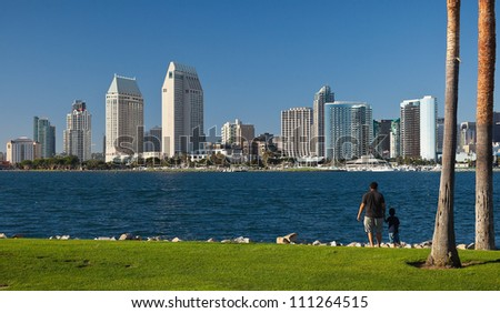Downtown San Diego, California and San Diego Bay - stock photo
