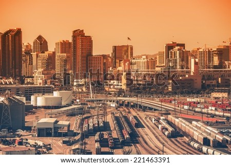 Downtown San Diego, California, USA. Downtown Area with Railroad Hub. Southern California City. San Diego is the  Eighth Largest City in the United States. - stock photo