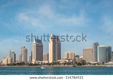 Downtown San Diego City View from Coronado Island with Blue Sky, San Diego, California USA - stock photo