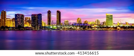 Downtown San Diego skyline panorama.  San Diego, California USA.