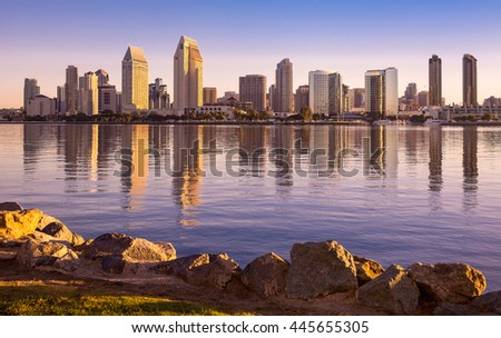 Downtown San Diego view from Coronado Island at sunrise.  San Diego, California USA. - stock photo