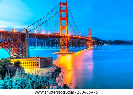 Downtown San Francisco at twilight, California, USA. - stock photo