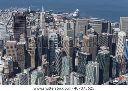 Downtown San Francisco city view and waterfront aerial.
