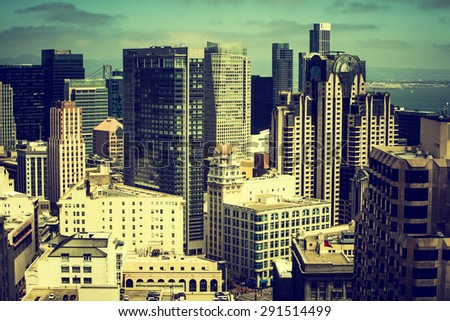 Downtown San Fransisco with dark Instagram filter - stock photo