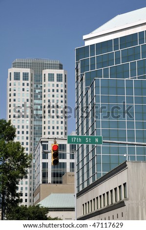 Downtown scene in Birmingham Alabama. - stock photo