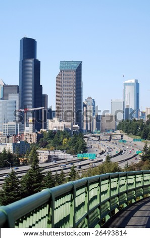 Downtown Seattle and I-5 Viewed from Beacon Hill, Seattle, Washington - stock photo