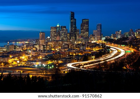 Downtown Seattle at dusk - stock photo