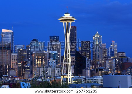 Downtown Seattle, WA, USA - Apr 4, 2015. Downtown Seattle, WA, USA - stock photo