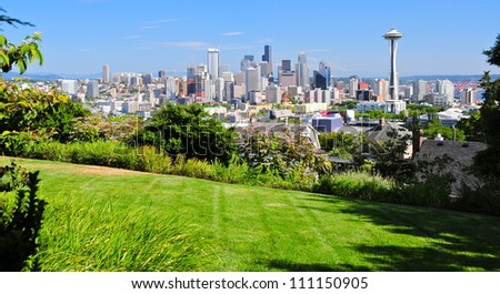 Downtown Seattle with a view of the Space Needle and Mount Rainier, WA, USA - stock photo