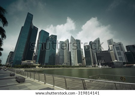 DOWNTOWN, SINGAPORE - AUGUST 27: Singapore Skyline And Modern Skyscrapers Of Business District Marina Bay Sands On August 27, 2015 In Downtown, Singapore (With Instagram Effect)