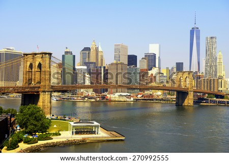 Downtown skyline and brooklyn bridge, New York City - stock photo