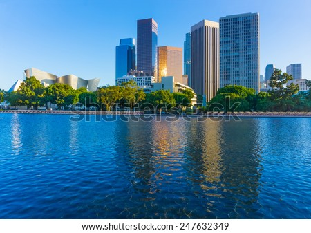 Downtown skyline and pond of Los Angeles, California - stock photo