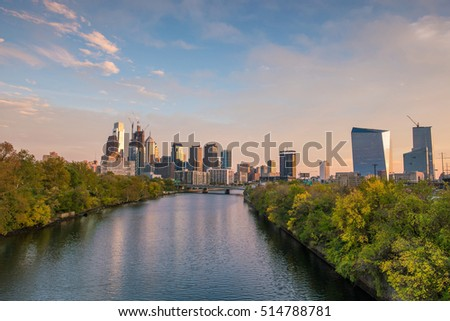 Downtown Skyline of Philadelphia, Pennsylvania at sunset in USA