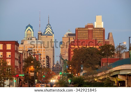 Downtown Skyline of Philadelphia, Pennsylvania at twilight - stock photo
