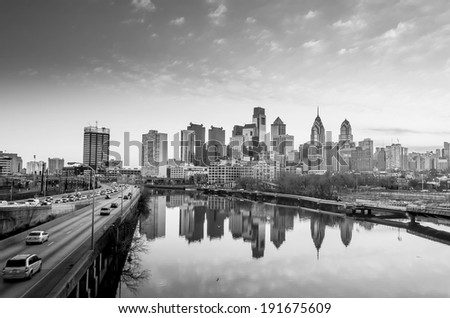 Downtown Skyline of Philadelphia, Pennsylvania at twilight in black and white - stock photo