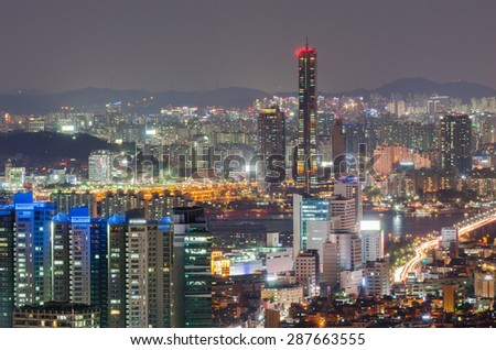 Downtown skyline of Seoul City at Night , South Korea
