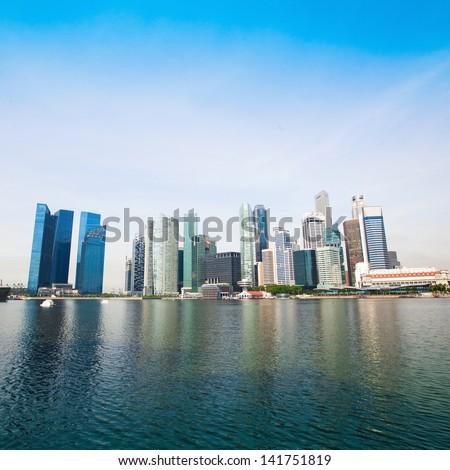 Downtown Skyline Singapore - stock photo