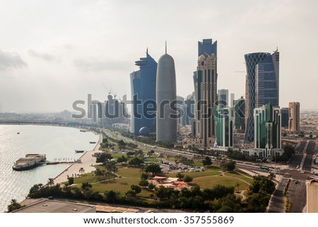 Downtown skyscrapers and the corniche in Doha, Qatar, Middle East