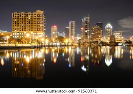 Downtown Tampa, Florida along the Hillsborough River. - stock photo