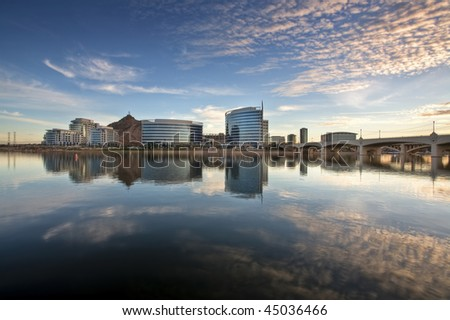 Downtown Tempe and Tempe Town Lake at sunset - stock photo
